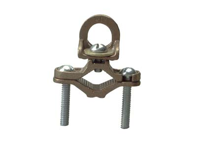 BRONZE GROUND CLAMP W/THREADED HUB
